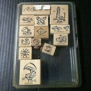 Stampin Up Rubber Stamps On The Beach 13 Piece Set